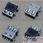 Разъем USB 2.0 / ниже середины / 15 x15mm / прямой / без юбки / Acer Aspire 5551