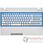 Клавиатура для Samsung NP300E5A белая с голубой рамкой (Топкейс белый)