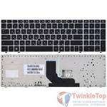 Клавиатура для HP EliteBook 8560p черная с серебристой рамкой с подсветкой (Управление мышью)