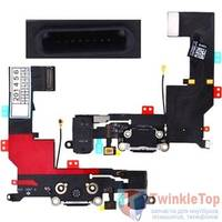 Шлейф / плата Apple Iphone 5S 821-1667-A на системный разъем / черный В сборе с микрофоном