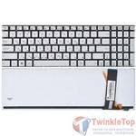 Клавиатура для Asus N56 серебристая без рамки с подсветкой